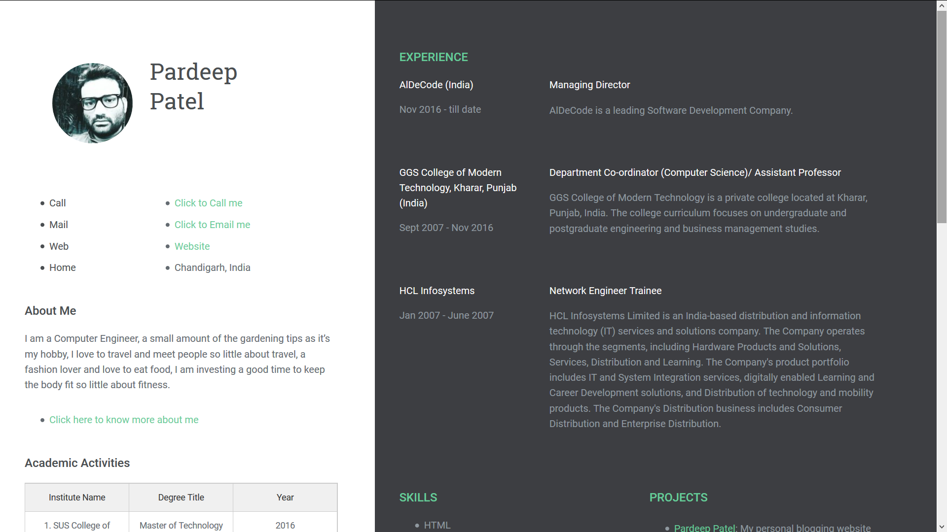 Create one page Resume on Blogger - Free Template